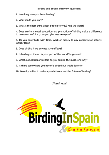 Birders and birding survey