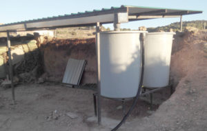 The rain roof and water tanks