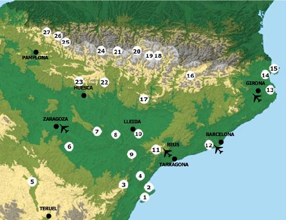 Birding Sites and Itineraries in North-east Spain - Detailed Map