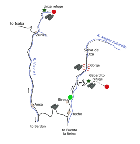 The Hecho Valley Itinerary Map