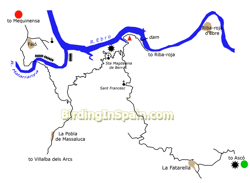 Map Of Spain Ebro River.Birding Along The River Ebro From La Faratella To Faio Itinerary